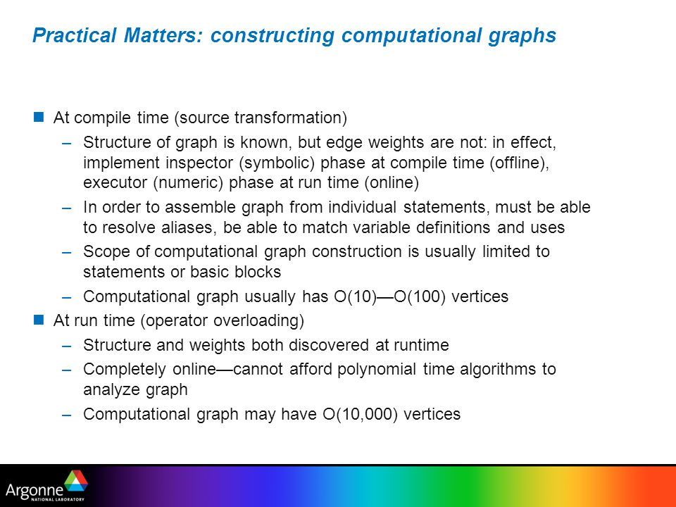 Practical Matters: constructing computational graphs
