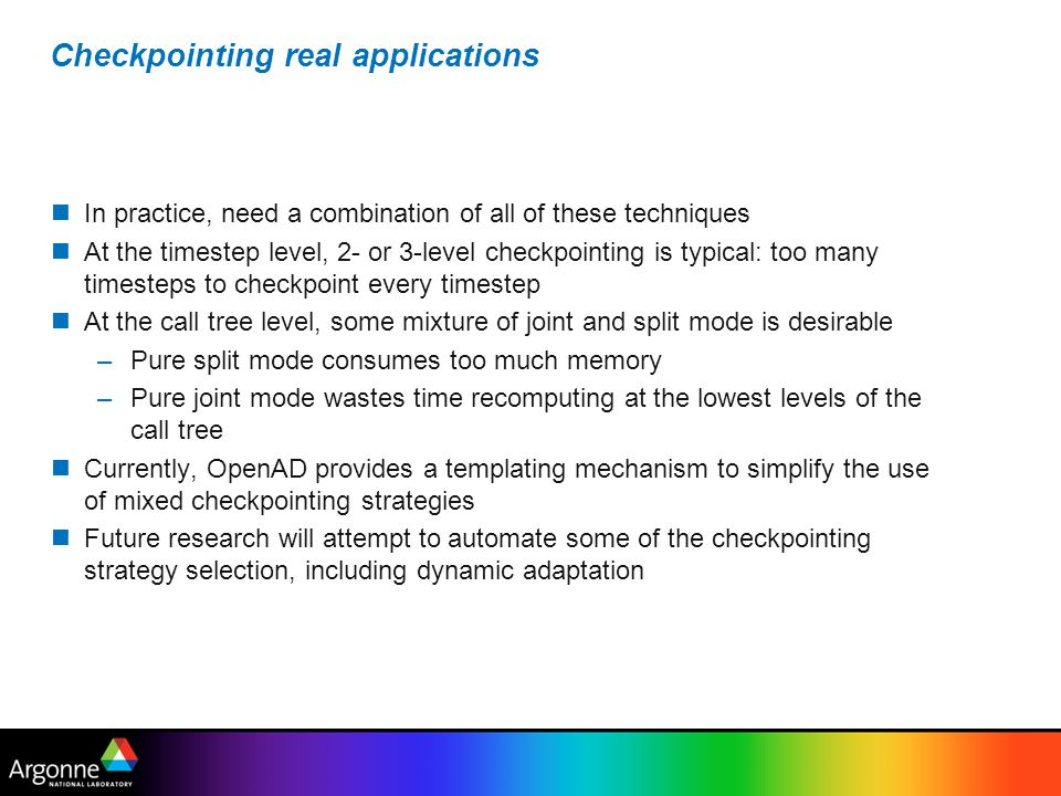 Checkpointing real applications