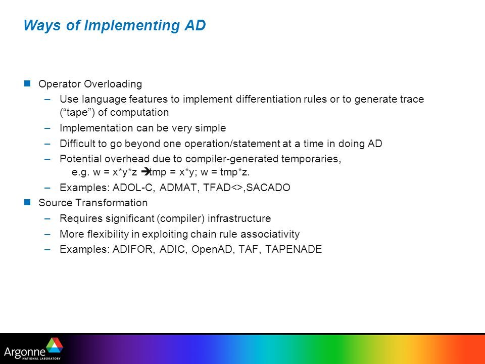 Ways of Implementing AD