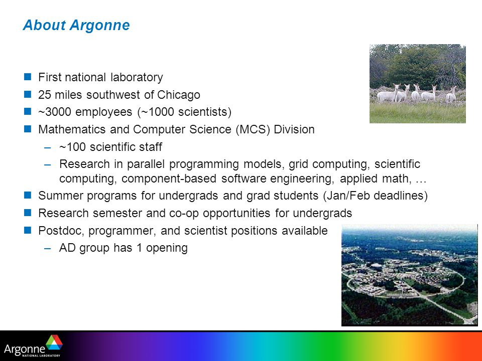 About Argonne First national laboratory 25 miles southwest of Chicago