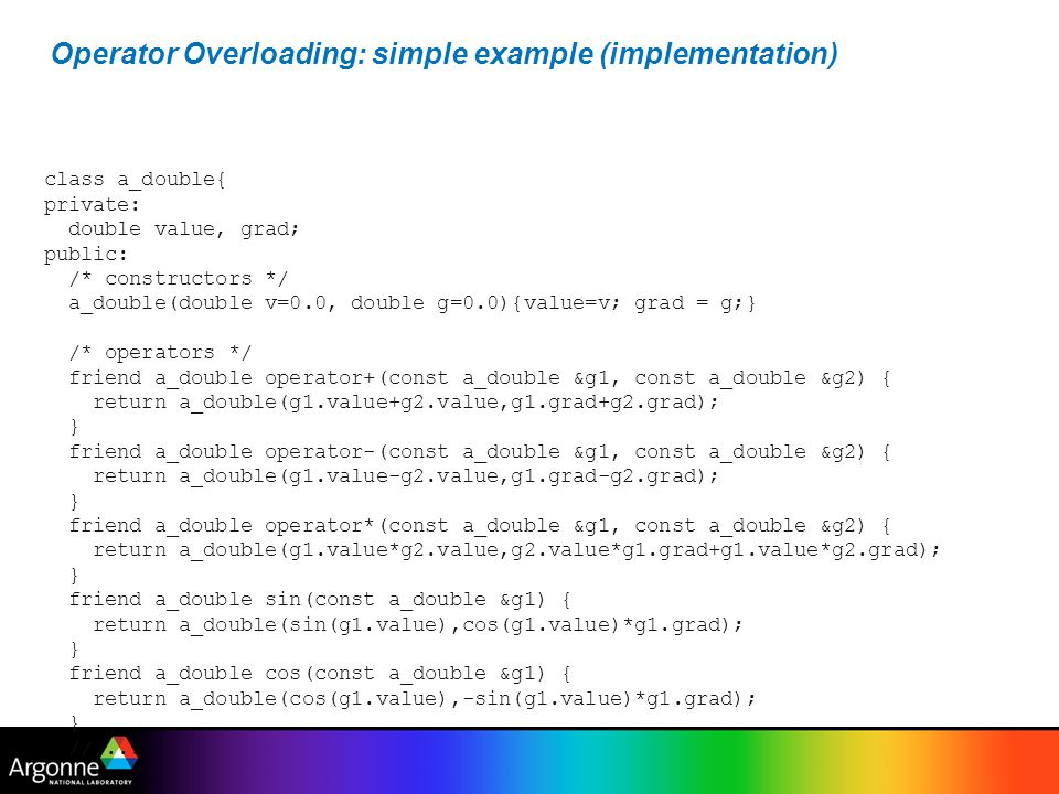 Operator Overloading: simple example (implementation)