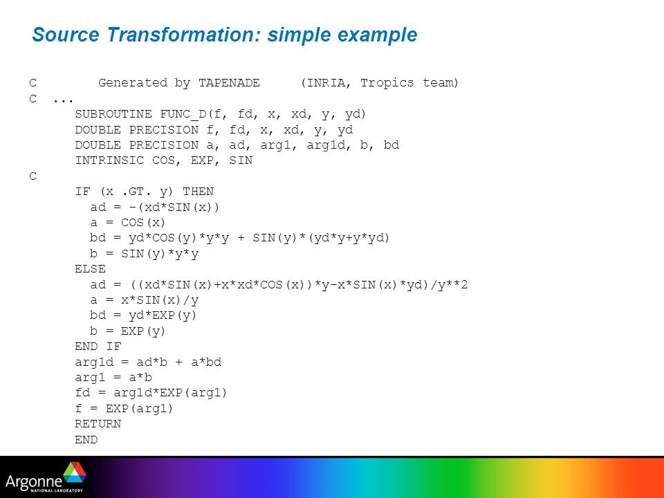 Source Transformation: simple example