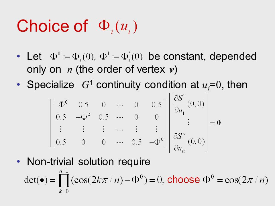 Choice of Let be constant, depended only on n (the order of vertex v)