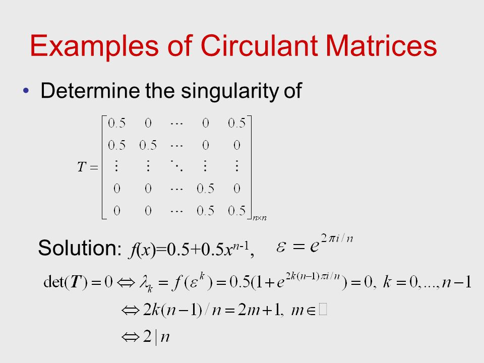 Examples of Circulant Matrices
