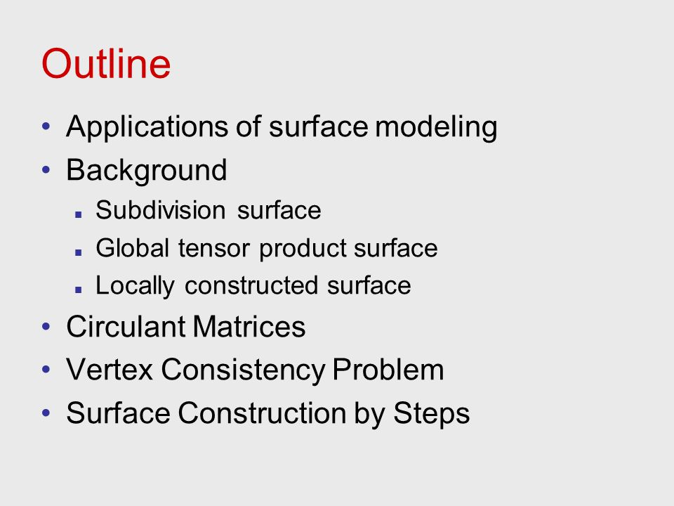 Outline Applications of surface modeling Background Circulant Matrices