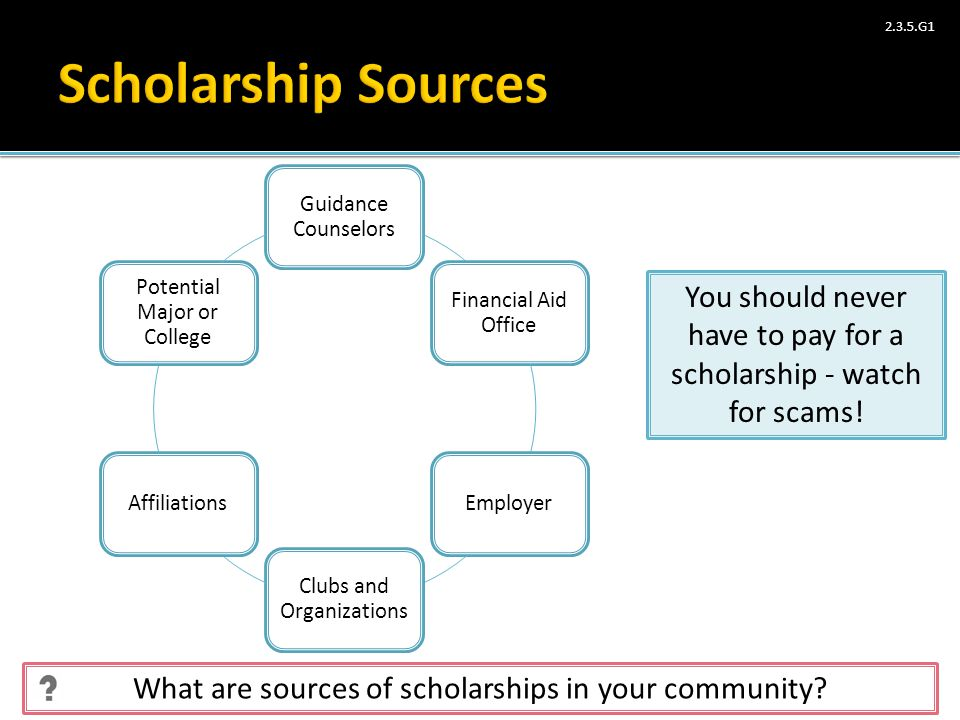 Scholarship Sources Guidance Counselors. Financial Aid Office. Employer. Clubs and Organizations.