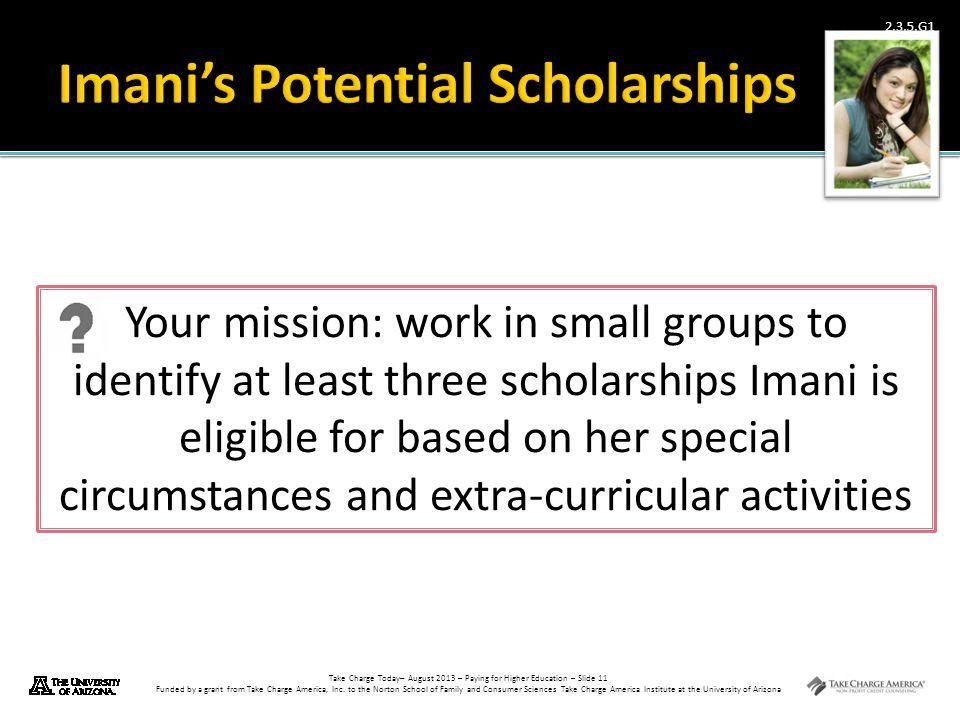Imani's Potential Scholarships