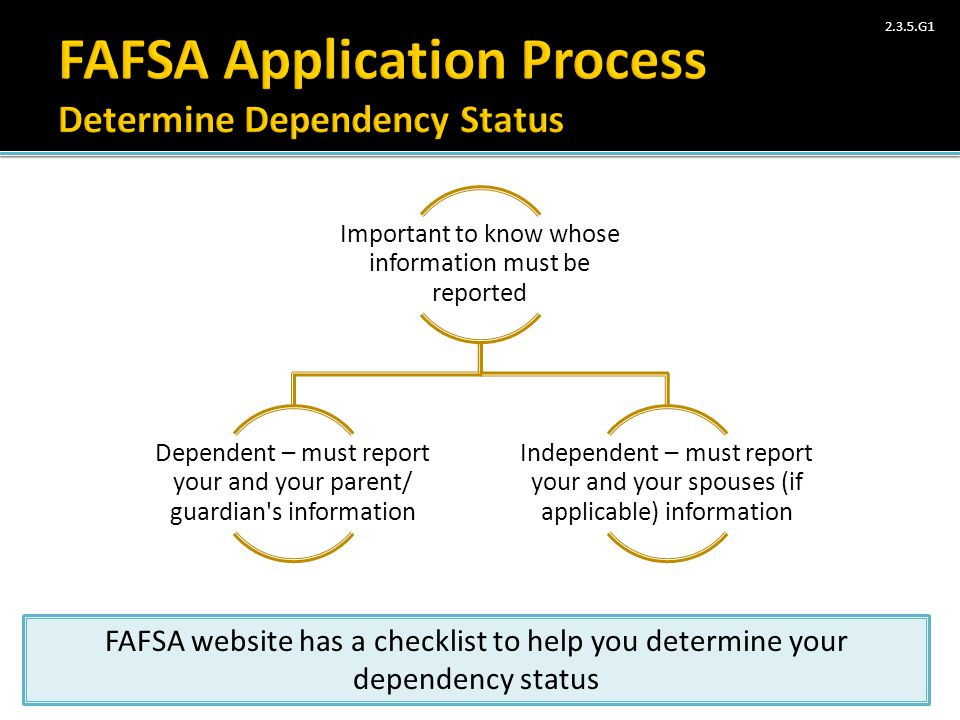 FAFSA Application Process Determine Dependency Status