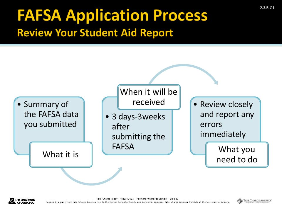 FAFSA Application Process Review Your Student Aid Report