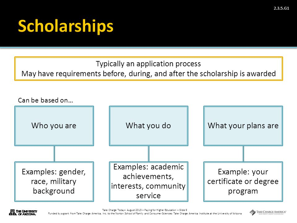 Scholarships Who you are Examples: gender, race, military background