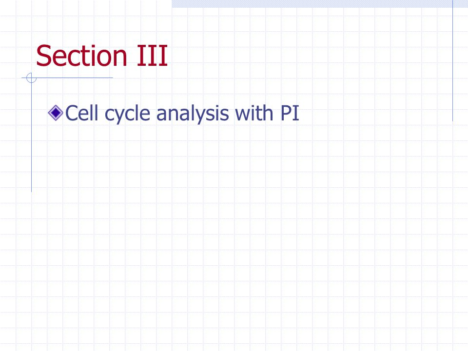 Section III Cell cycle analysis with PI