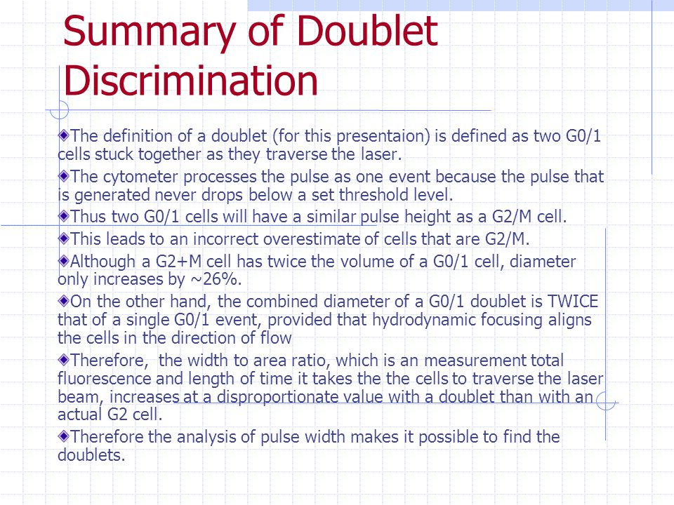 Summary of Doublet Discrimination