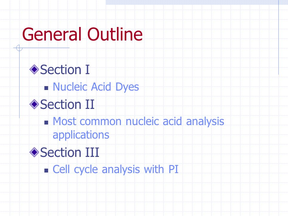 General Outline Section I Section II Section III Nucleic Acid Dyes
