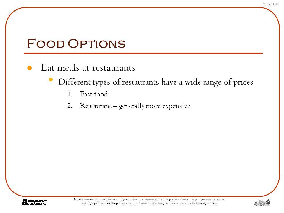 Food Options Eat meals at restaurants