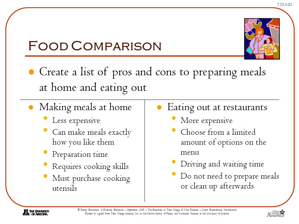 Food Comparison Create a list of pros and cons to preparing meals at home and eating out. Making meals at home.
