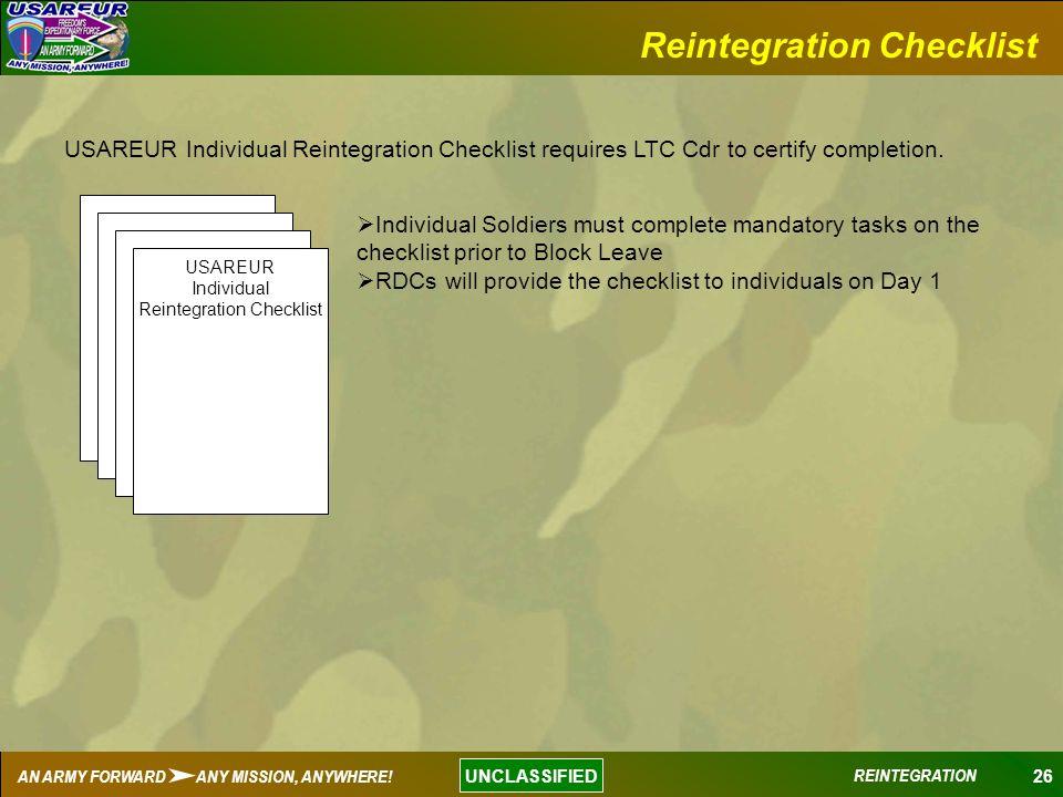 Reintegration Checklist