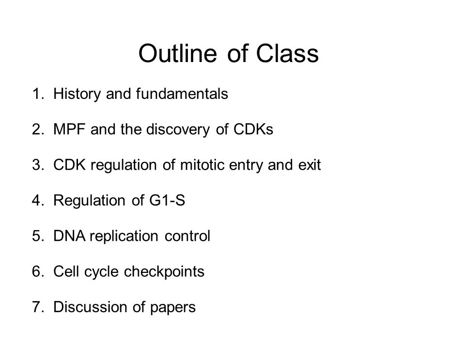 Outline of Class 1. History and fundamentals