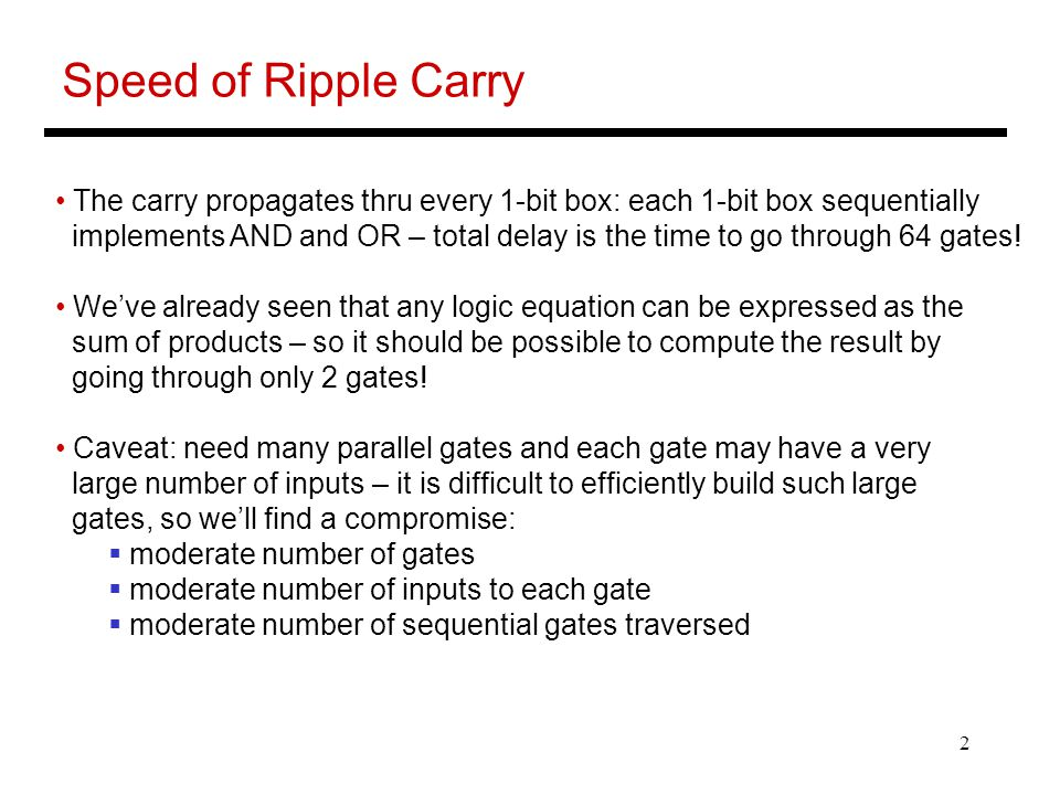 Speed of Ripple Carry The carry propagates thru every 1-bit box: each 1-bit box sequentially.