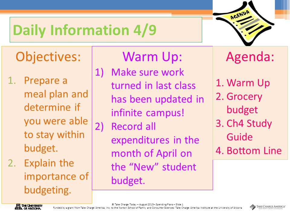 Daily Information 4/9 Objectives: Warm Up: Agenda: