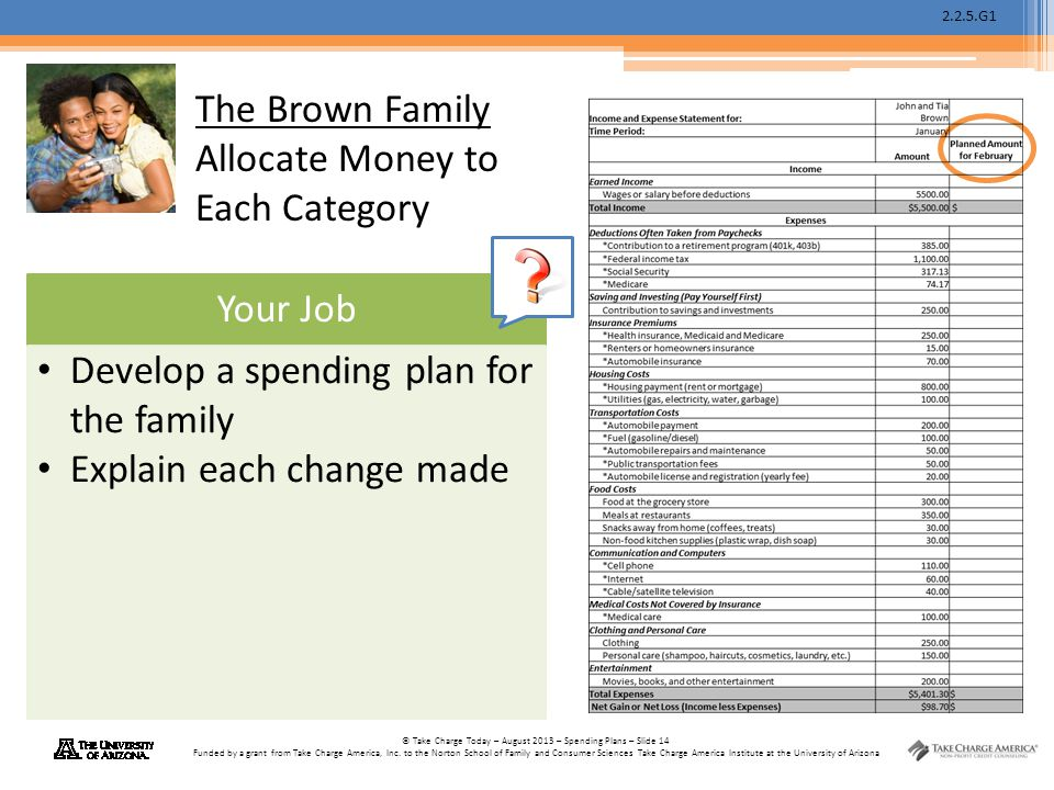 The Brown Family Allocate Money to Each Category