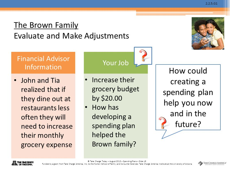The Brown Family Evaluate and Make Adjustments