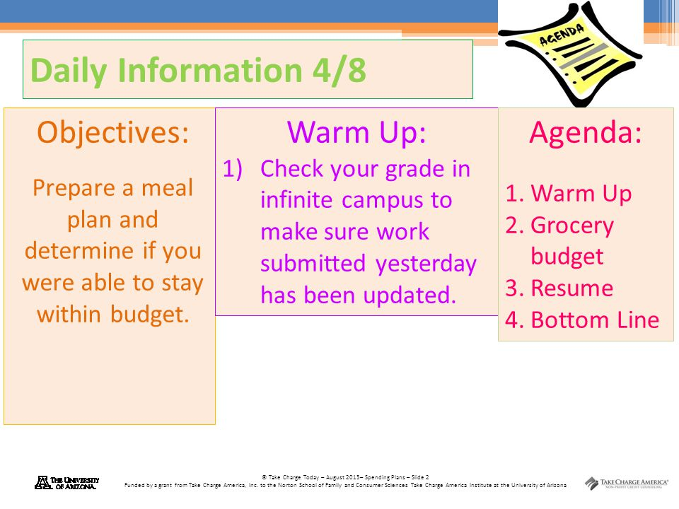 Daily Information 4/8 Objectives: Warm Up: Agenda: