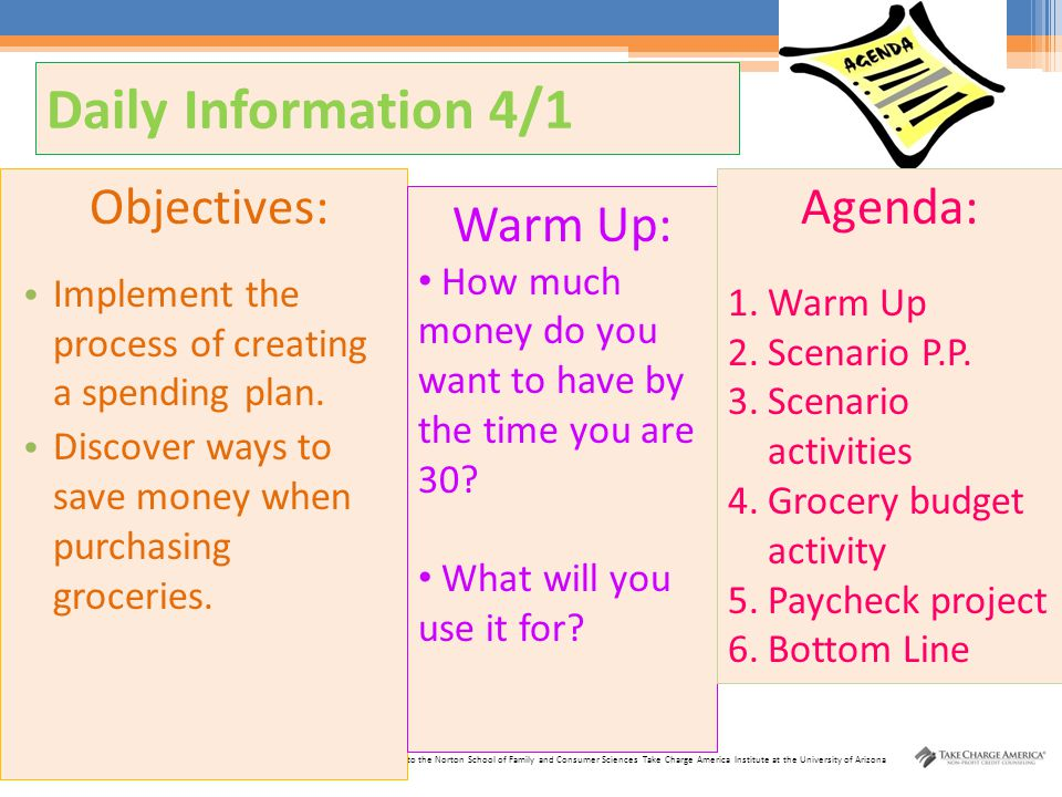 Daily Information 4/1 Objectives: Agenda: Warm Up: