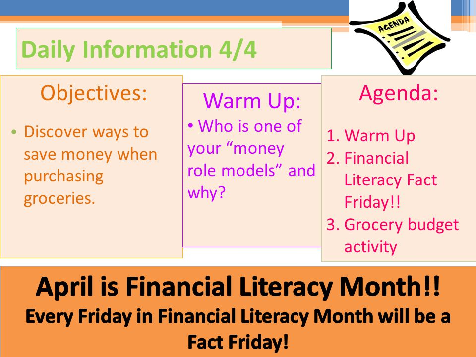 April is Financial Literacy Month!!