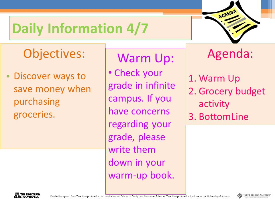 Daily Information 4/7 Objectives: Agenda: Warm Up: