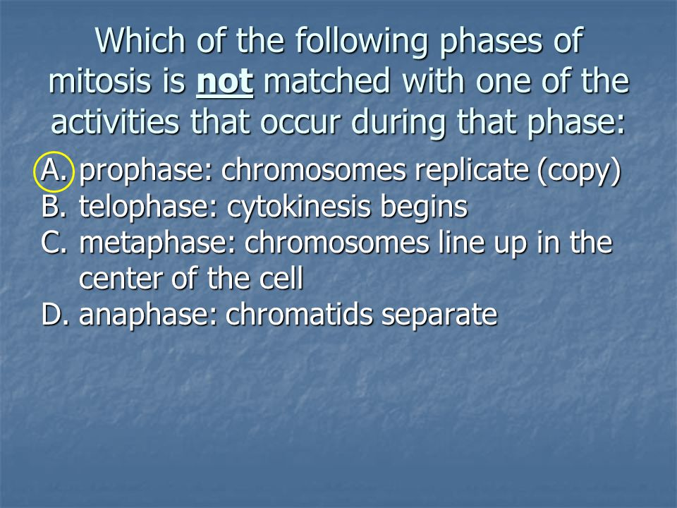 Which of the following phases of mitosis is not matched with one of the activities that occur during that phase: