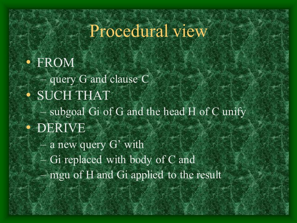 Procedural view FROM SUCH THAT DERIVE query G and clause C