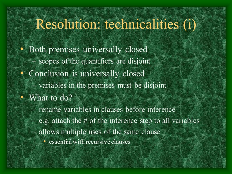 Resolution: technicalities (i)