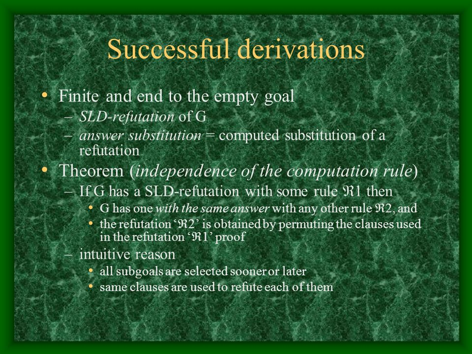 Successful derivations