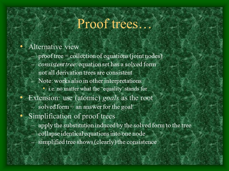 Proof trees… Alternative view