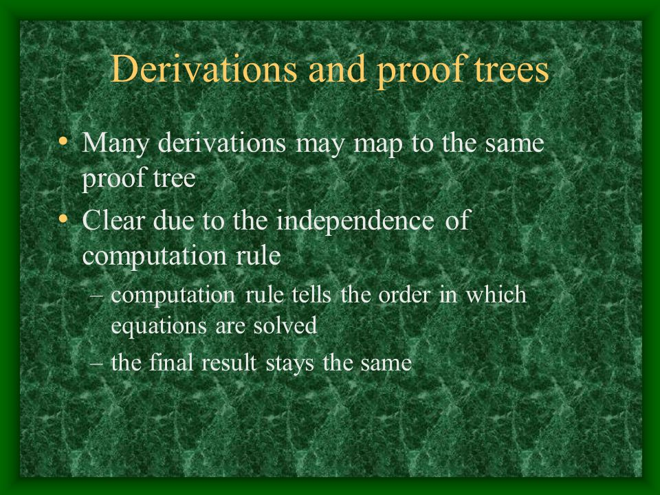 Derivations and proof trees