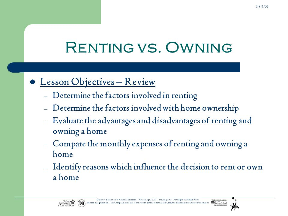 Renting vs. Owning Lesson Objectives – Review