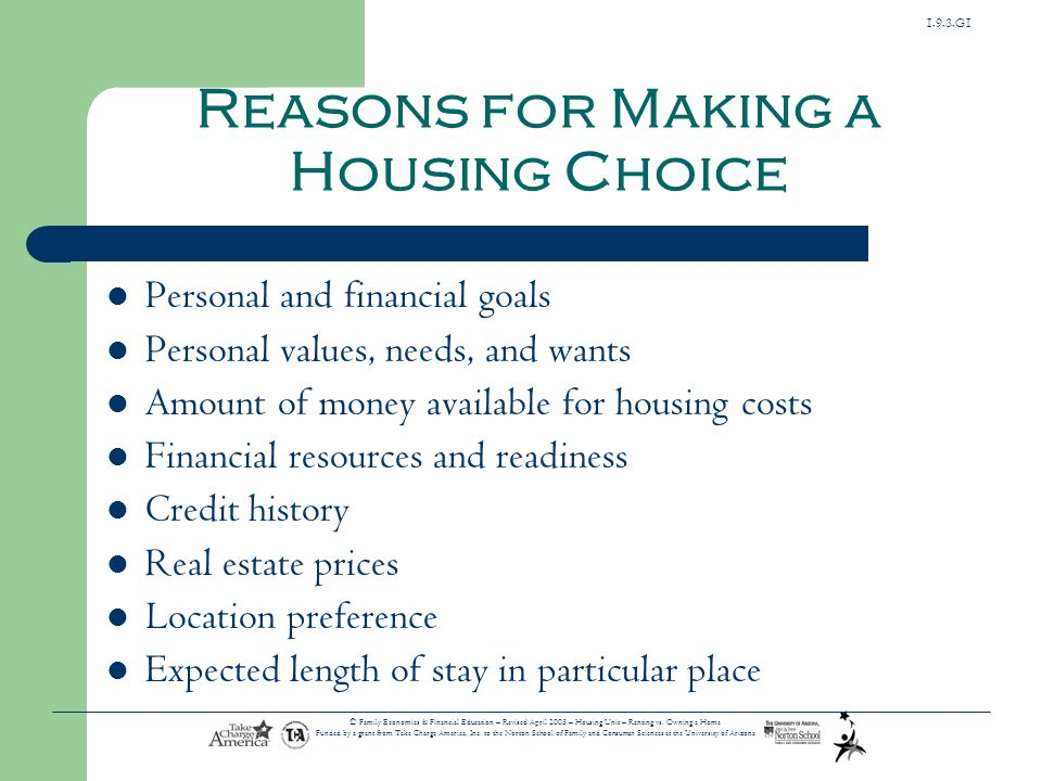 Reasons for Making a Housing Choice