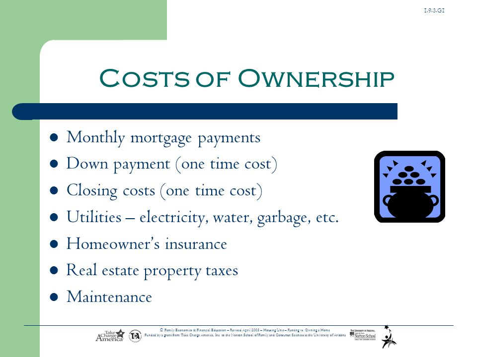 Costs of Ownership Monthly mortgage payments
