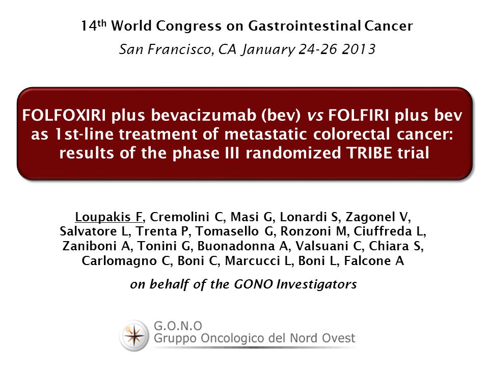 FOLFOXIRI plus bevacizumab (bev) vs FOLFIRI plus bev