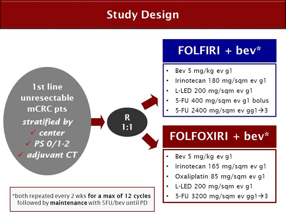 FOLFIRI + bev* FOLFOXIRI + bev*