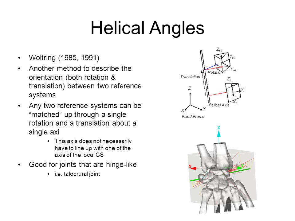 Helical Angles Woltring (1985, 1991)