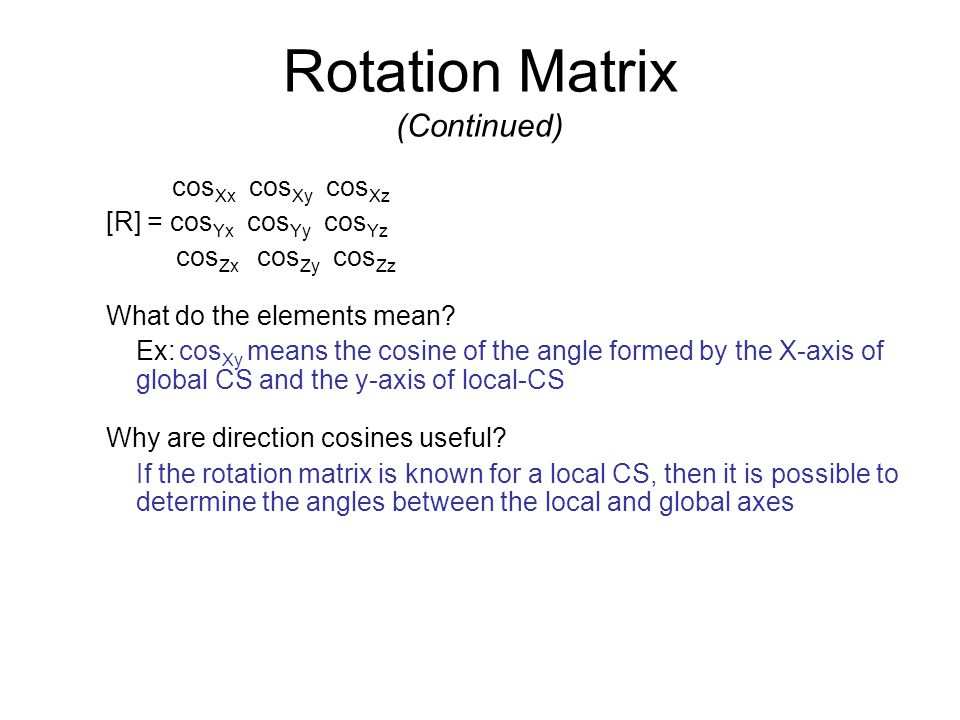 Rotation Matrix (Continued)