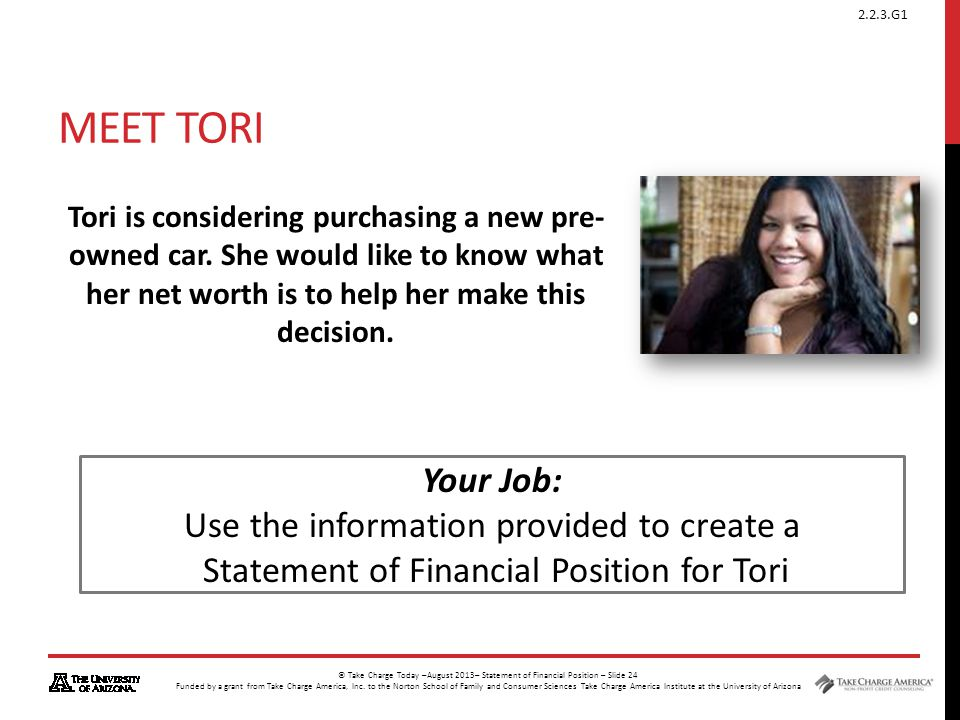 Meet Tori Your Job: Use the information provided to create a