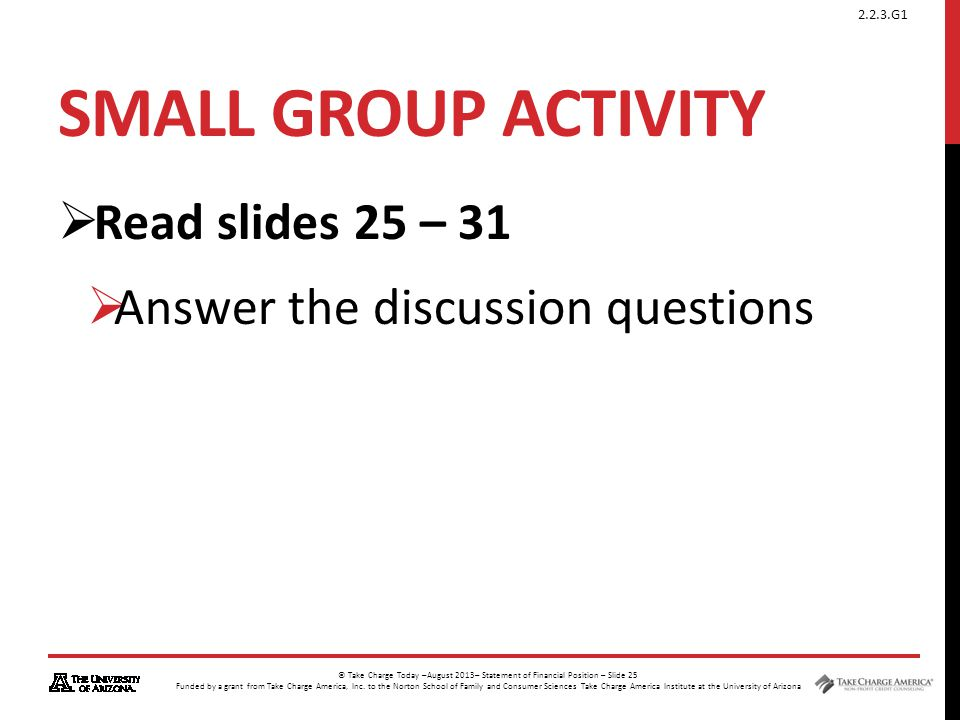 Small Group activity Read slides 25 – 31