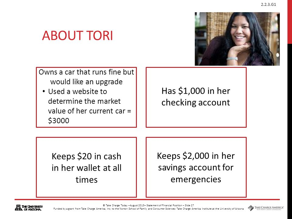 About Tori Has $1,000 in her checking account