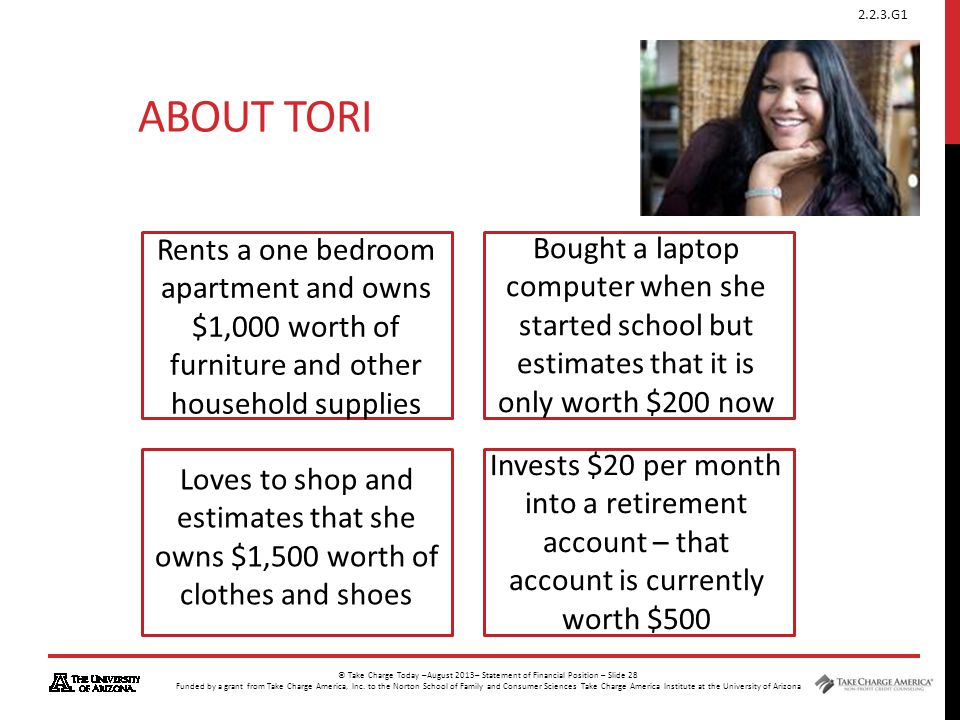 About Tori Rents a one bedroom apartment and owns $1,000 worth of furniture and other household supplies.