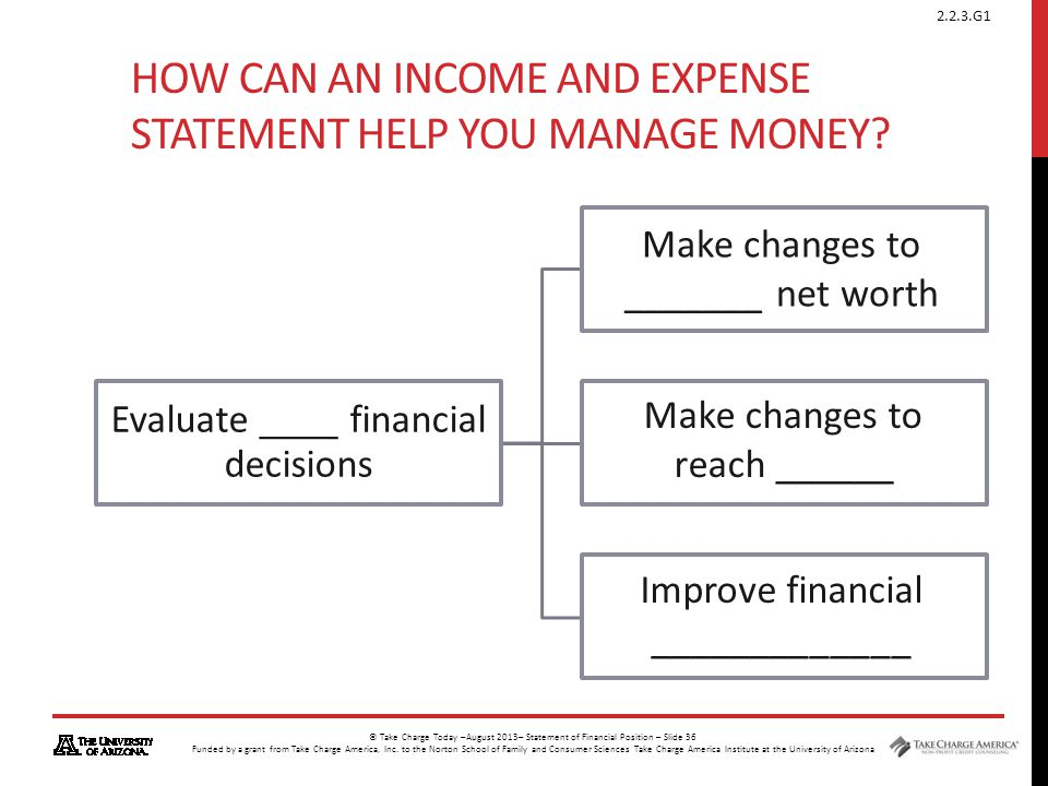 How can an Income and Expense Statement help you manage money