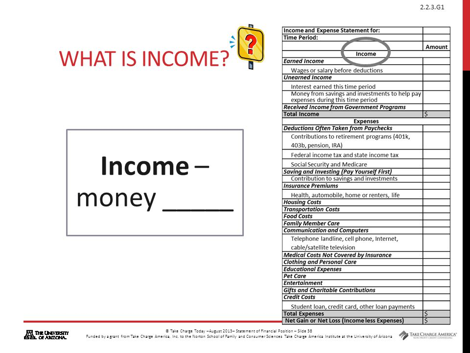 What is Income Income – money _____