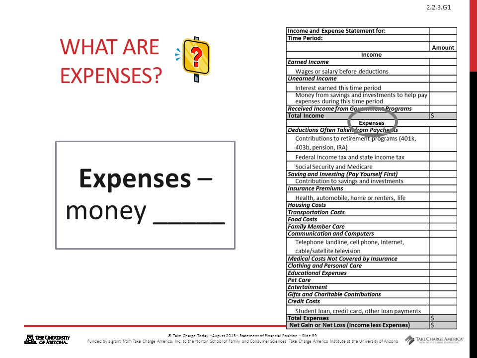 What are Expenses Expenses – money _____
