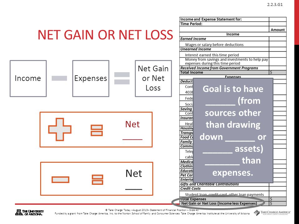 Net Gain or Net Loss Net ___
